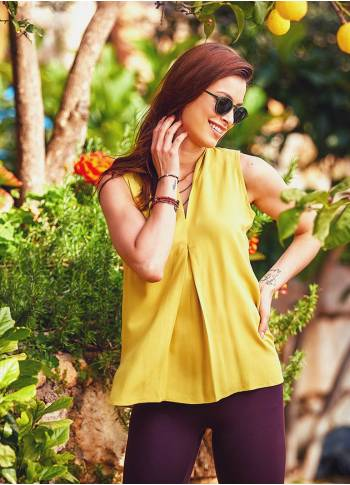 Authentic Sleeveless Bohemian Chic Yellow Blouse