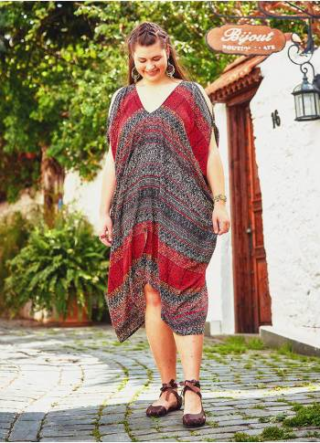 Ethnic Print Asymmetrical Hem Plus Size Gray Dress