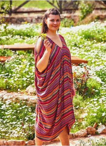 Asymmetrical Hem Boho Style Striped Plus Size Cold Shoulder Dress