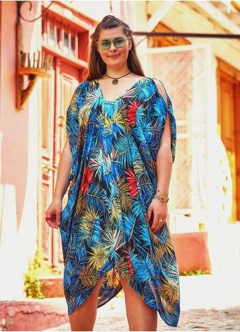 Hawaii Print V Neck Sleeveless Plus Size Dress
