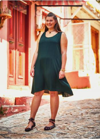 Adjustable Button Plus Size Dark Green Midi Dress
