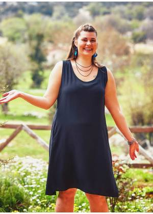 Scoop Neck Sleeveless Bohemian Style Wholesale Plus Size Dress