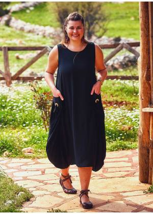 Sleeveless Buttoned Side Pockets Wholesale Plus Size Black Dress