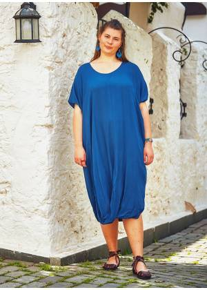 Hem Detail Scoop Neck Half Sleeve Wholesale Plus Size Long Dress