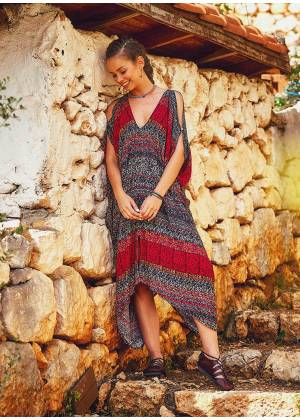 V Neck Cold Shoulder Loose Fit Wholesale Gypsy Style Summer Dress