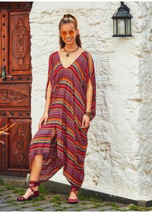 Deep V Neck Loose Fit Hippie Style Striped Cold Shoulder Dress