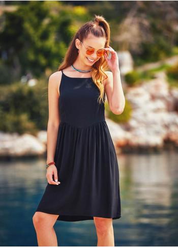 Boho Adjustable Spagetti Straps Black Halter Dress