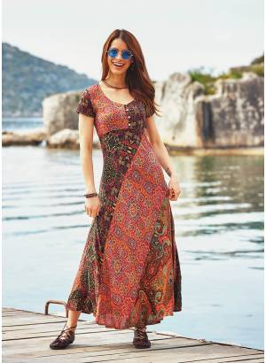 Ethnic Pattern Cross Strappy Back Patchwork Dress