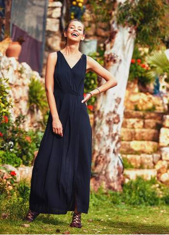 Bohemian Authentic Double Breasted Black Dress
