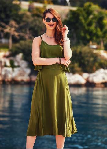 Boho Wholesale  Khaki Midi Authentic Dress