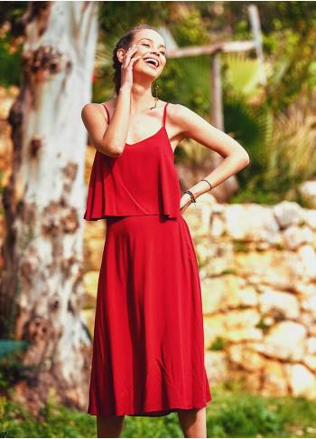 Ethnic Red Bohemian Midi Authentic Dress