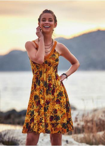 Lace Straps Frill Hem Floral Print Boho Style Wholesale Sundress