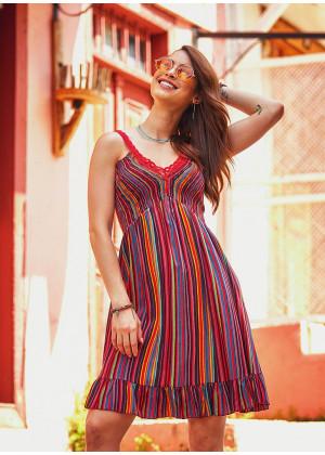 Laced Straps Frill Hem V Neck Striped Wholesale Gypsy Style Dress