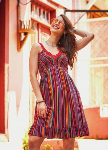 Laced Straps Frill Hem V Neck Striped Wholesale Gypsy Style Dress