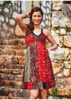 Lace Straps Frill Hem Patch Print Wholesale Gyspy Style Dress