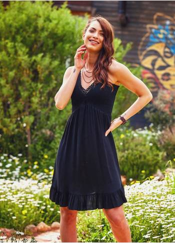 Laced V Neck Shirred Back Frill Hem Boho Wholesale Black Dress