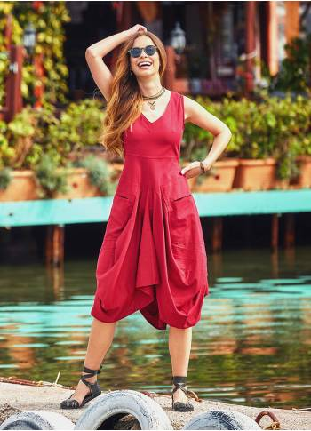 Boho Tie Waist Sleeveless Baloon Skirt Red Dress