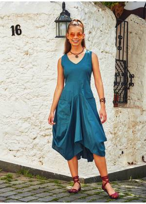 Boho Asymmetrical Hem V Neck Chic Long Blue Dress
