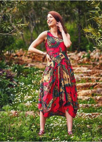 Authentic Print Sleeveless Scoop Neck Red Dress