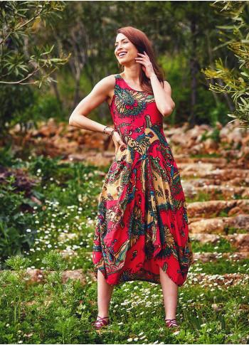 Authentic Print Sleeveless Scoop Neck Red Dress
