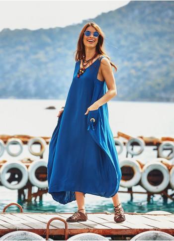 Sleeveless Pocket Detail Boho Chic Wholesale Loose Fit Maxi Dress