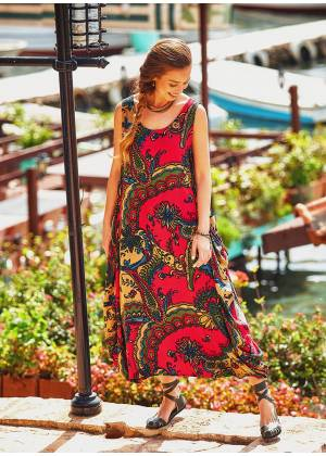 Sleeveless Paisley Print Bohemian Style Loose Fit Maxi Dress