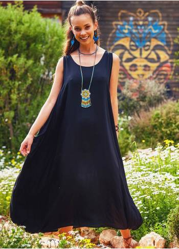 Sleeveless Pocket Detailed Boho Style Black Loose Fit Long Dress