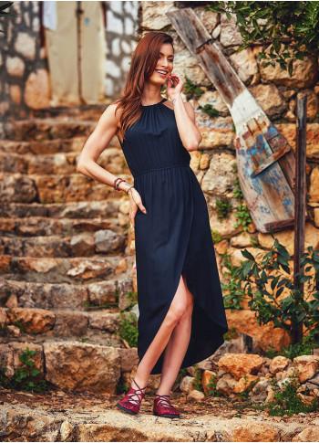 Dip Hem Halter Neck Half Lined Chic Evening Dress