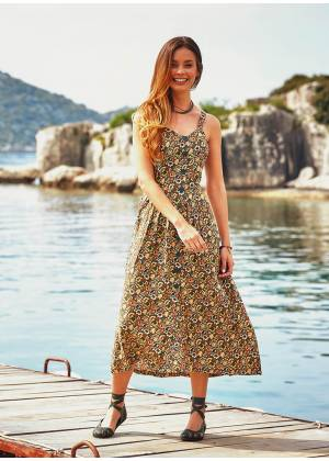 Ethnic Floral Patterned Wide Halter Khaki Dress