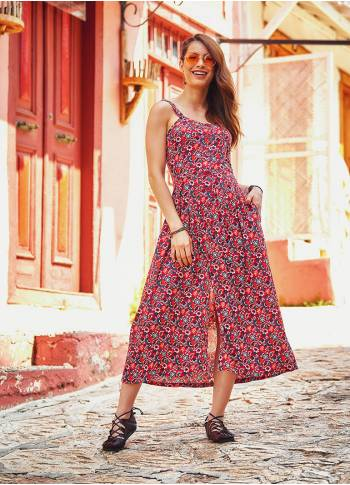 Floral Pattern Bohem Style Wide Halter Red Dress