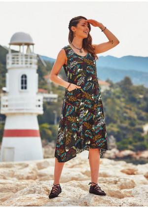 Amazon Print Binding Detail Sleeveless Black Dress