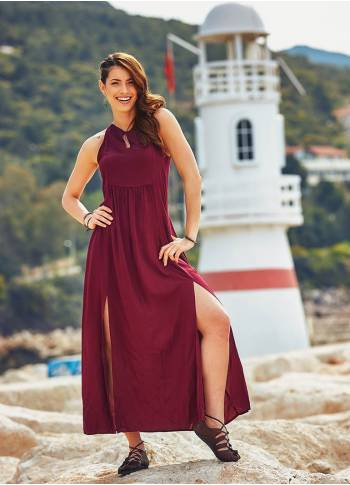 Double Front Slits Gypsy Long Claret Red Dress