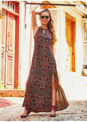 Ethnic Print Adjustable Straps Decollete Dress