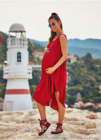 Scoop Neck Sleeveless Round Hem Bohemian Maternity Summer Dress
