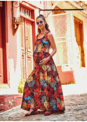Wide Strappy Back Side Pockets Boho Wholesale Tropical Maxi Dress