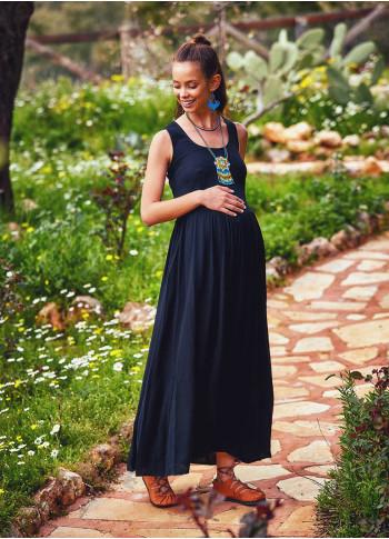 Authentic Round Neckline Black Maternity Dress