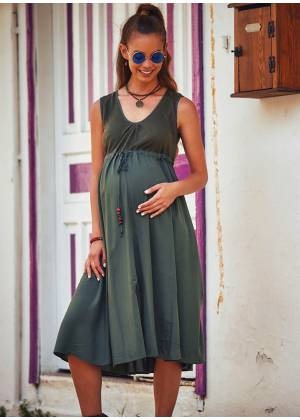 Bohemian Style Wooden Beaded Drawstring Long Maternity Dress