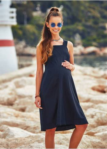 Rib-Detail Neckline Strappy Black Bohemian Maternity Short Dress