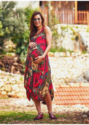 Paisley Print Tie Waist Round Neck Long Bohemian Maternity Dress