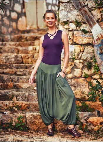 Bohemia Style Medium Rise Elastic Hem Wholesale Flowy Harem Pants