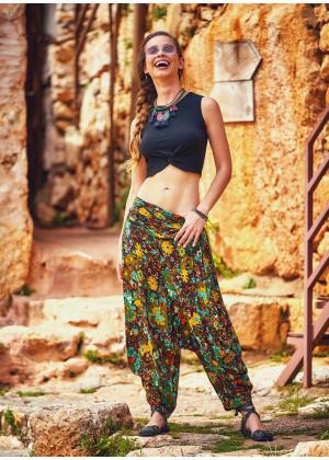 Bohemia Style Floral Print Draped Elastic Waist Flowy Harem Pants