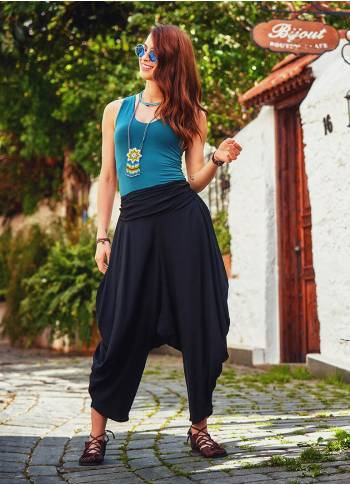 Draped Elastic Waist Medium Rise Flowy Casual Black Baggy Pants