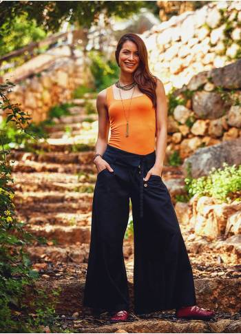 Buttoned Banded Waist Low Rise Black Culottes