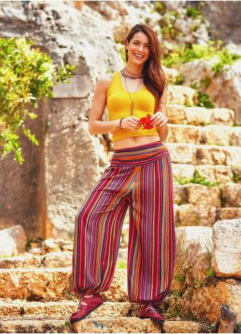 Flat Front Elastic Hem Medium Rise Striped Yoga Pants