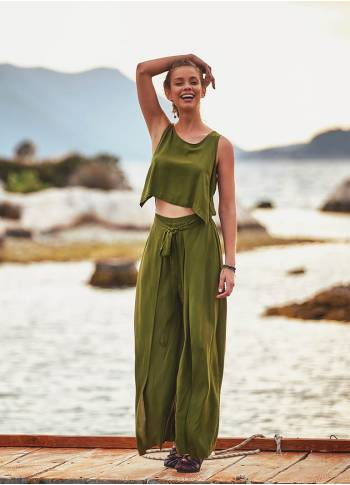 Adjustable Tie Waist Sleeveless Bohemian Wholesale Wrap Jumpsuit