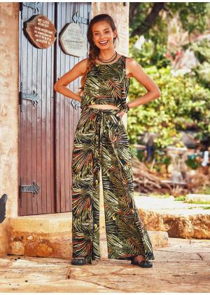 Sleeveless Adjustable Waist Tropical Print Boho Wrap Jumpsuit