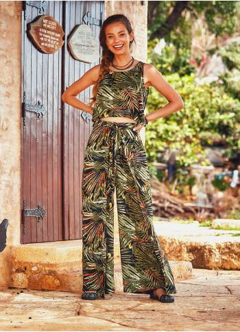 Sleeveless Adjustable Waist Tropical Print Boho Wrap Jumpsuit