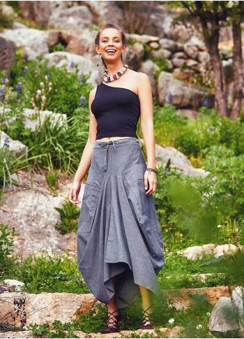 Tie Waist Pocket Detailed Wholesale Gypsy Style Long Cotton Skirt