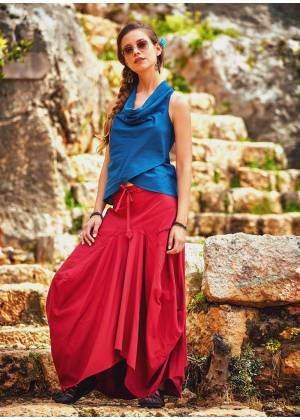 Gypsy Style Oversized Pocket Detailed Wholesale Long Cotton Skirt