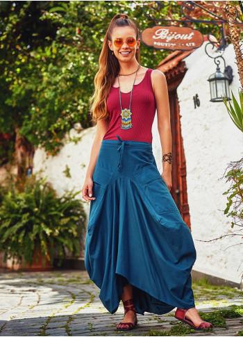 Asymmetrical Hem Detail Hippie Style Wholesale Cotton Long Skirt